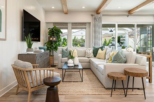 living room in the Savannah plan at Allevare by Toll Brothers