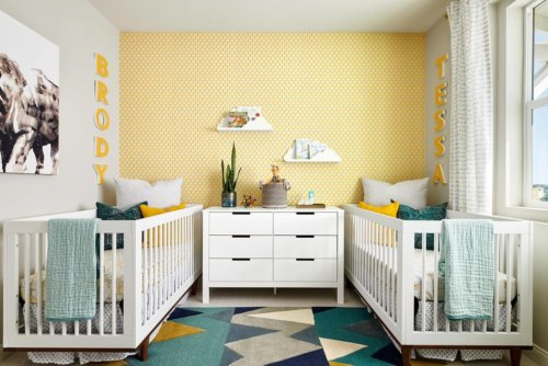 yellow and blue nursery by Chameleon Design
